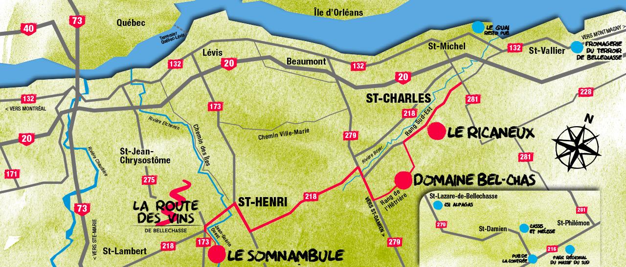 Carte Route des vins de Bellechasse
